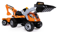 Smoby Builder Max toy ride on pedal tractor trailer and digger with backhoe loader 710110
