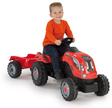 Smoby Childrens Red Pedal Ride On Tractor and Kids Trailer