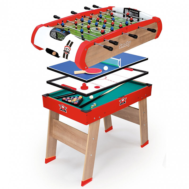 smoby powerplay 4in1 kids sports table tennis football pool. Black Bedroom Furniture Sets. Home Design Ideas