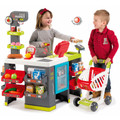 Two children playing with the Smoby maxi Market kids supermarket