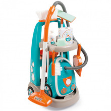 The cleaning trolley cart from Smoby is great for children and kids to be like the grown ups using their vacuum cleaner hoover and keeping their home or even playhouse clean