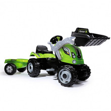 The Smoby Farmer Max ride on tractor includes a digger and trailer and is great for children! 710109