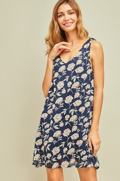 The Floral Print V-Neck Shift Dress, Navy
