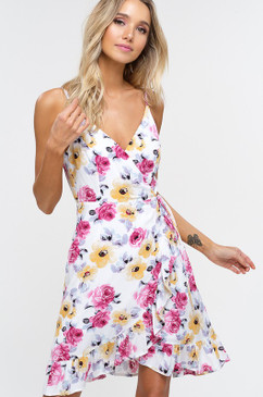 The Floral Wrap Cami Dress, Ivory