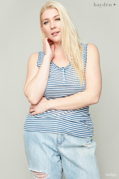 The Curvy Lace Trim Striped Tank, Indigo