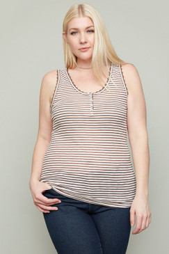 The Curvy Lace Trim Striped Tank, Mocha