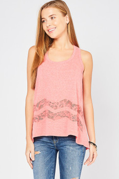 The Swing Lace Tank, Coral