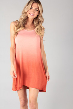 The Dip Dye Knit Tunic Dress, Rust
