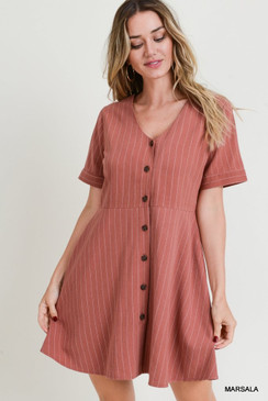 The Pinstripe A-Line Button Front Dress, Marsala