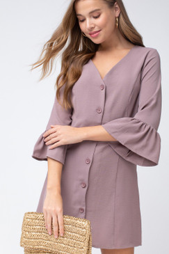 The V-Neck Button-Up Dress, Latte