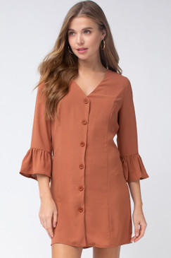 The V-Neck Button-Up Dress, Camel