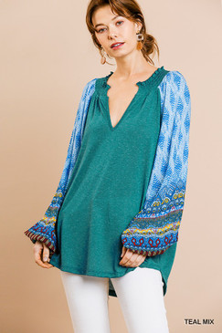 The Aztec Print Puff Sleeve Top, Teal Mix