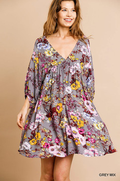 The Floral Print 3/4 Sleeve Babydoll Dress, Grey Mix