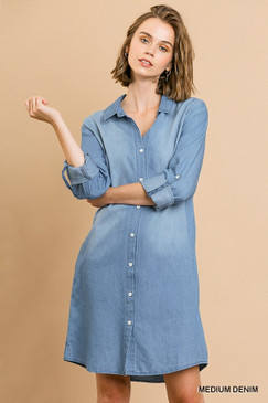 The Tencel Rolled Sleeve Collared Dress, Medium Denim