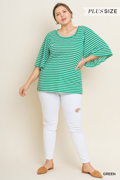 The Curvy Striped Bell Sleeve Top, Green