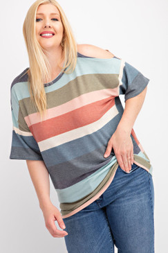 The Curvy Cold Shoulder Multicolor Stripe Top, Terracotta
