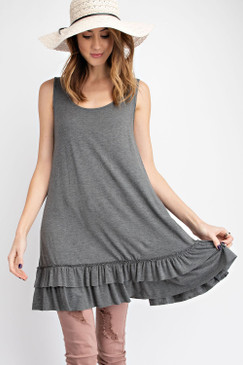 The S/L  Double Ruffle Bottom Top, Charcoal