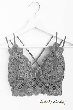 The Scalloped Lace Bralette, Dark Grey