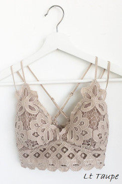 The Scalloped Lace Bralette, Light Taupe