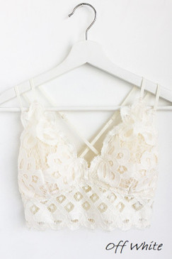 The Scalloped Lace Bralette, Off White