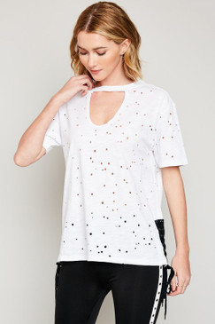 Distressed Choker Neck Tee, Off White