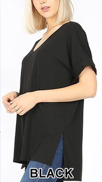 The Curvy V-Neck Side Slit Tee, Black