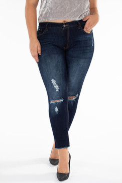 Curvy Distressed Ankle Skinny