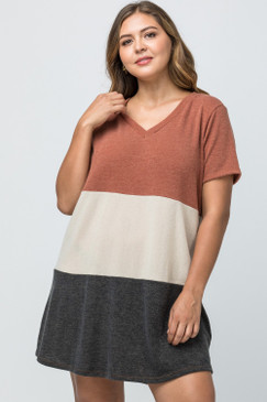 Curvy V-Neck Colorblock Dress, Rust Combo