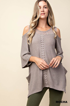 The Thermal Lace Top Tunic, Mocha