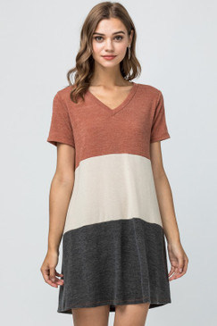 V-Neck Colorblock Dress, Rust Combo