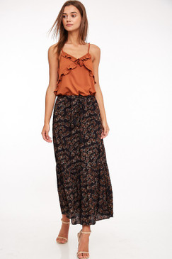 Ruffle Cami Maxi Dress, Rust