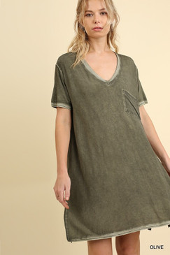 The Washed V-Neck T-Shirt Dress, Olive