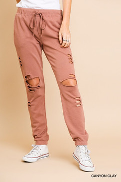 Distressed Joggers, Canyon Clay