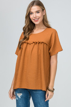 Ribbed Frill S/S Top, Camel