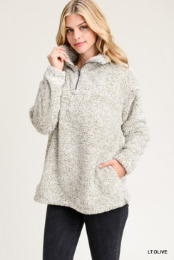 Faux Fur Pullover with Pockets, Lt. Olive