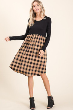 Plaid Colorblock Dress, Beige