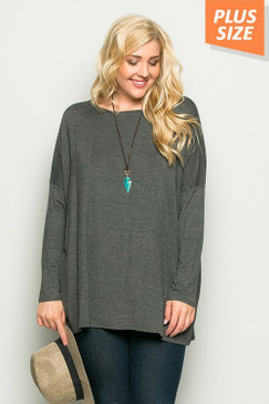 Curvy L/S Solid Top, Charcoal