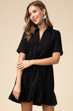 Textured Collared V-Neck Dress, Black