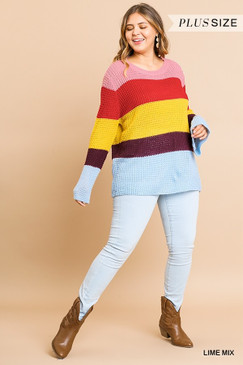 Curvy Bell Sleeve Waffle Knit Sweater, Lime Mix