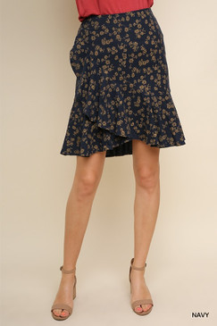 High Waisted Ruffled Floral Skirt, Navy