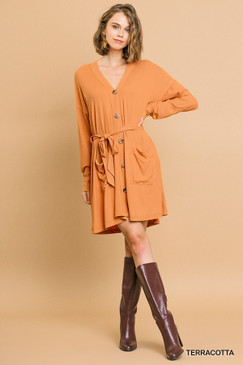L/S Ribbed Button Front Cardi Dress, Terracotta