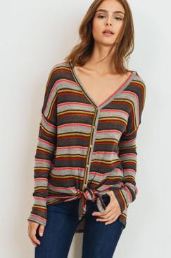 L/S Multi Color Stripe Button Down Top, Multi