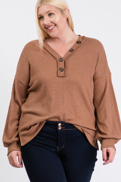 Curvy Two Tone Thermal Raw Edge Top, Brown