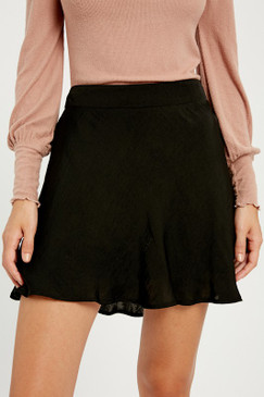 Satin Mini Skirt, Black
