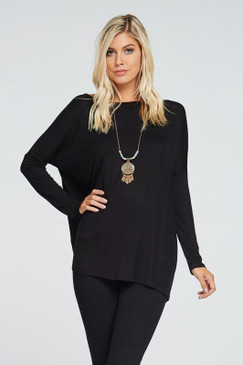 Solid Loose Fit Tunic Top, Black