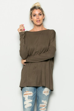 Solid Loose Fit Tunic Top, Olive