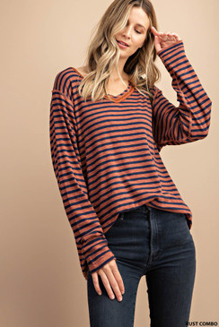 Wide V-Neck Striped Tee, Rust Combo