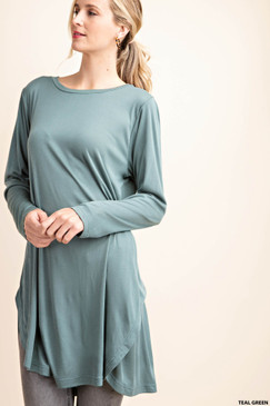 Side Slit Round Neck Tunic Top, Teal Green