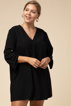 Curvy Solid V-Neck Dress, Black