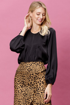 Pleasted Detail Blouse, Black